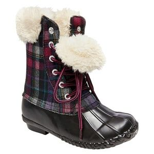 NWT Girls' Stevies Fur Top Duck Rain Boots Size 3